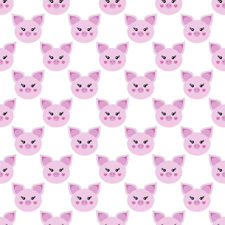 Picture of a piglet. Symbol of the year 2019. White background. Seamless pattern.  イラスト・ベクター素材