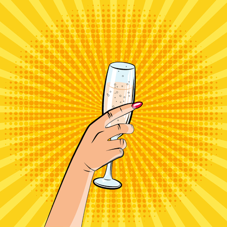 An image of a hand with a glass of champagne. Pop art style, comics. Illustration