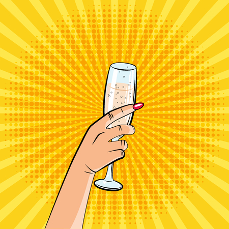 An image of a hand with a glass of champagne. Pop art style, comics. vector