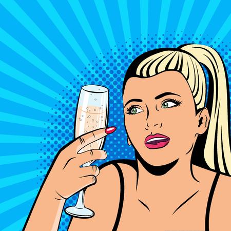 Beautiful girl drinking champagne. Illustration in pop art style. Retro background. Иллюстрация