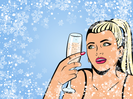 Beautiful girl drinking champagne. Illustration in pop art style. Retro background. Illustration
