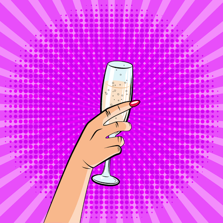 An image of a hand with a glass of champagne. Pop art style, comics. Zdjęcie Seryjne