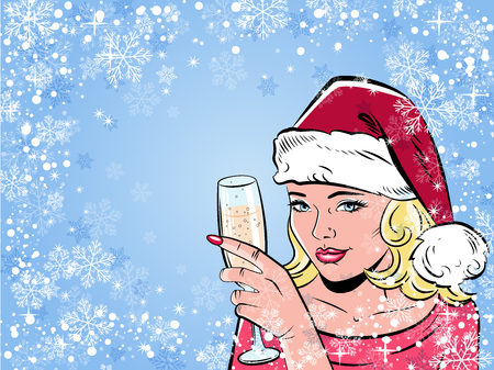 Beautiful girl drinking champagne. Illustration in pop art style. Retro background. Ilustrace