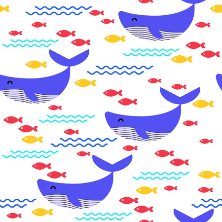 Seamless pattern. Whale and fish on a white background. Vector. Иллюстрация