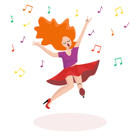 Cheerful dancing girl drawn on a white background. Flat style. Vector.