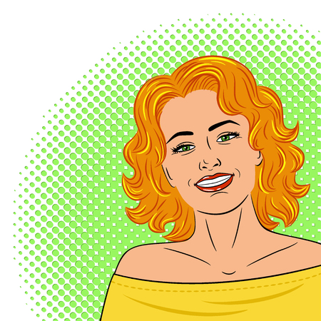 Beautiful young laughing womanpainted on a white background . Drawn in the style of pop art. The girl smiles. Retro. Vector.