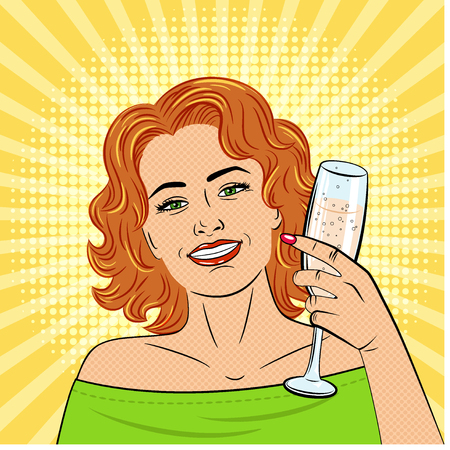 A beautiful young woman holds in her hand a glass of champagne . Drawn in the style of pop art. The girl smiles. Retro. Vector. Иллюстрация