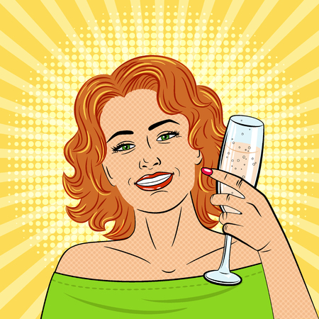 A beautiful young woman holds in her hand a glass of champagne . Drawn in the style of pop art. The girl smiles. Retro. Vector.  イラスト・ベクター素材