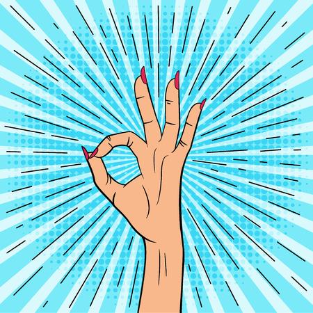 Female hand shows ok sign. Illustration in pop art style. Vector. Иллюстрация