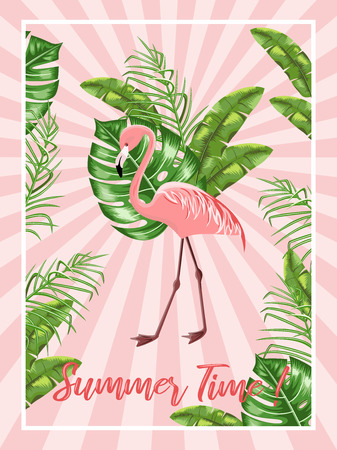 Invitation template for a beach party. Flamingo and tropical leaves.Poster. Vector. Иллюстрация