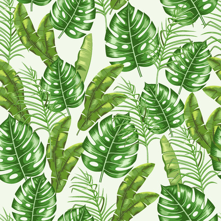 Seamless pattern with the image of tropical leaves. Floral ornament. Vector. Иллюстрация