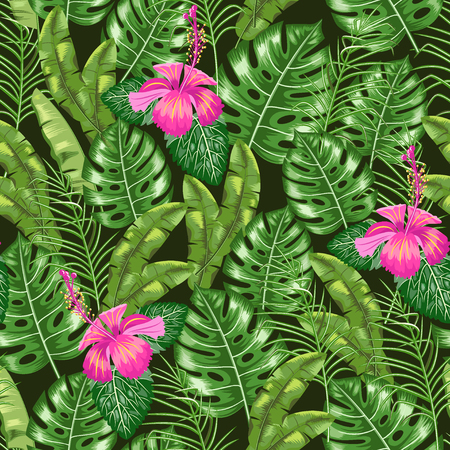 Seamless pattern with the image of tropical leaves and flower . Floral ornament. Vector.