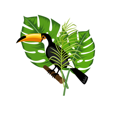 Design element. Exotic toucan bird on a background of palm leaves. White background. Illustration