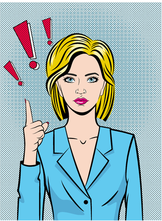 A beautiful young woman draws attention with her index finger. Exclamation mark. The girl is drawn in the style of pop art. Vector. Ilustracja