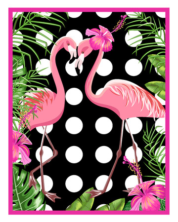 Invitation template for a beach party. Flamingo and tropical leaves.Poster. Vector. Çizim