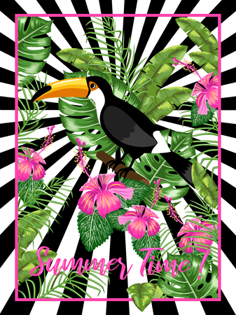 Invitation template for a beach party. Toucan bird and tropical leaves.Poster. Vector. Иллюстрация