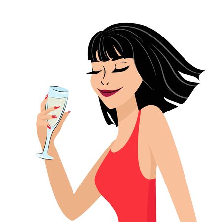 Beautiful young girl with a glass in his hand. Drawn in anime style. Vector.