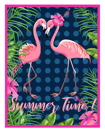 Invitation template for a beach party. Flamingo and tropical leaves.Poster.  イラスト・ベクター素材