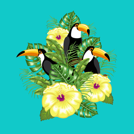 Invitation template for summer ad . Toucan bird and tropical leaves. Poster. Vector.