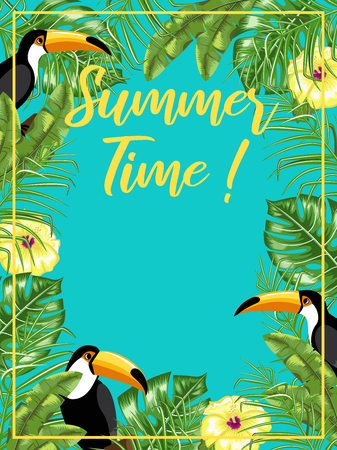 A poster with the image of toucans and tropical leaves. Summer time. Planner. Vector. Иллюстрация