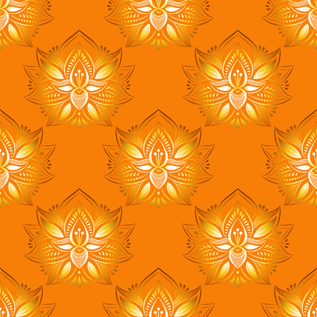 Seamless pattern in vintage style on a orange background. Vector.