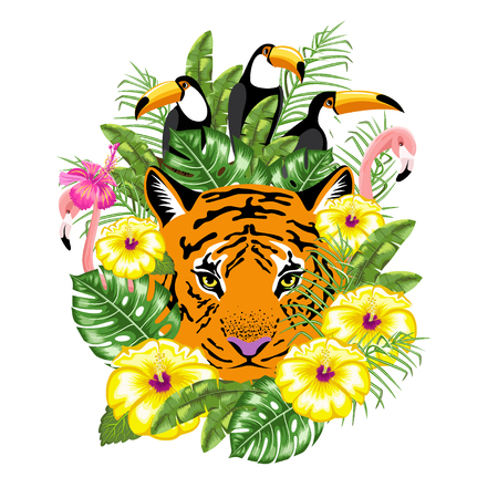 Invitation template for summer advertising. Toucan bird, tiger, flamingo and tropical leaves. Poster. Happy summer. Vector.