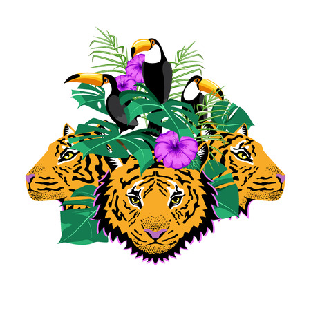 Composition for printing on t-shirts, bags, clothes. Tigers, tropical flowers and leaves. Иллюстрация