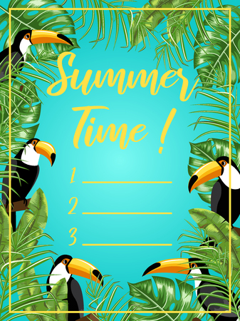 A poster with the image of toucans and tropical leaves. Summer time. Planner. Vector. Mock-up.