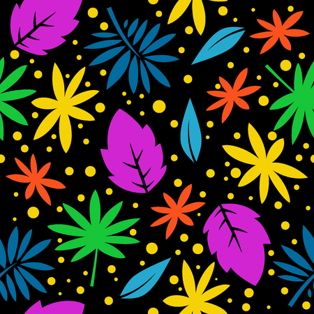 Seamless pattern with the image of tropical leaves. Flat style. Trend Vector. Prints