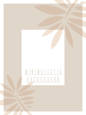 Poster design template in natural shades. Minimalistic style. Palm leaves. Vector. Иллюстрация