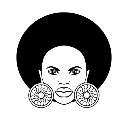 Stylized image of a beautiful African woman. Vector. Ilustracja