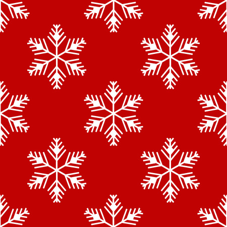 Seamless pattern. White snowflakes on a red background. New Year. Иллюстрация