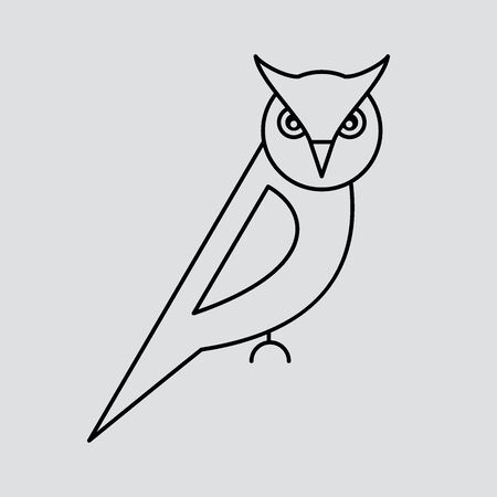 Template for labels and emblems with contour of owl. Vector illustration