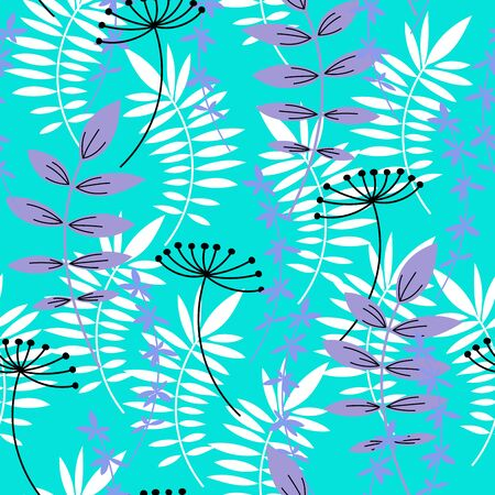 Seamless pattern. Decorative flowers and leaves. Vector Иллюстрация