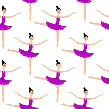 Girl dancer on a white background. Ballerina. Seamless pattern.