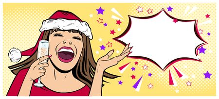 Beautiful young woman in Santa Claus hat in the pop art comics style. New Year and Christmas. Ilustração