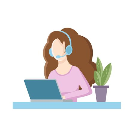 Girl in headphones working at a laptop. Vector illustration in a modern style. Flat style.