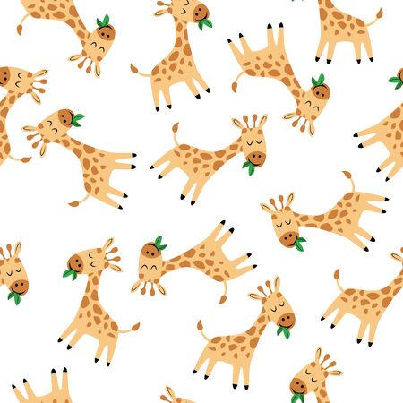 Giraffe. Seamless pattern for fabric, wrapping paper, wallpaper. Illustration