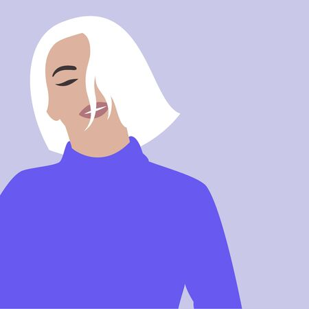 Image of a beautiful girl without a face in a fashionable style. Minimalism. Vector illustration.