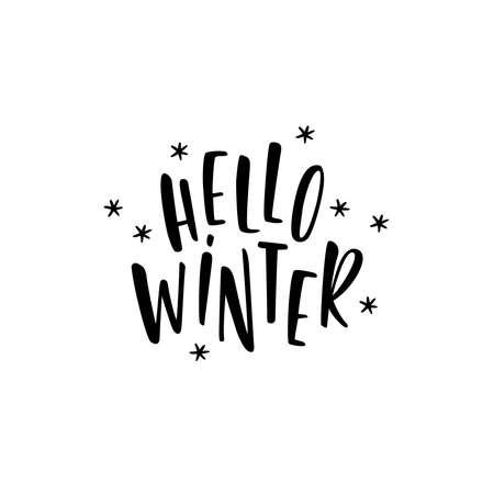 Hello winter. Handwritten lettering on a white background. Lettering. Calligraphy.