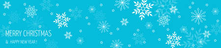 Extra wide Christmas banner. New Years illustration. Snowflakes.