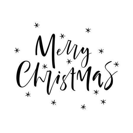 Merry Christmas. Christmas greeting poster written by hand. Letters.