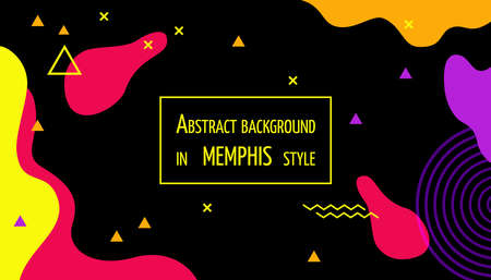 Colorful dark elegant geometric background in Memphis style. Template. Poster.