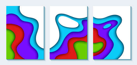 Set of vertical A4 banners with 3D abstract background with blue paper cut waves. Wavy geometric poster. Fashionable composition of colored shapes cut out of paper. 일러스트