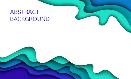 Wavy geometric background. Fashionable compositions of colored figures cut out of paper. Vector. Paper cut Style. 일러스트