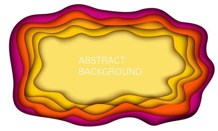 Wavy geometric background. Fashionable compositions of colored figures cut out of paper. Vector.