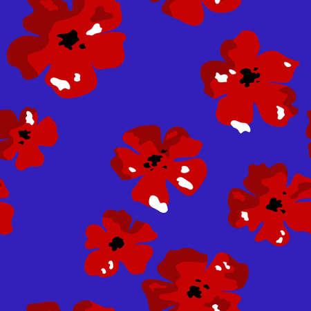 Seamless pattern. Red flowers on a blue background. 일러스트