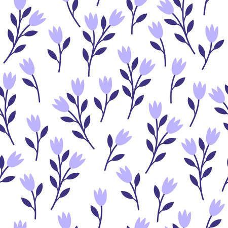 Seamless patterns. Delicate flowers on a white background.