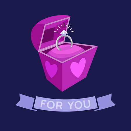 Gift box with a ring. Happy holiday greeting card. Vector.