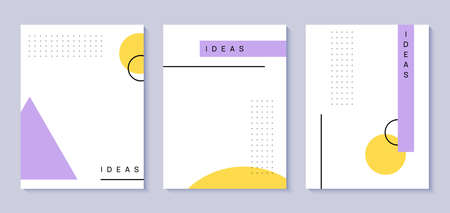 Set of memphis style covers with a minimal design. Cool geometric backgrounds for your design. Applicable for Banners, Placards, Posters, Flyers .